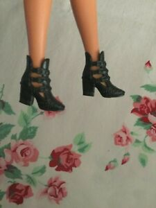 Mattel Barbie Doll Boots Shoes Solid Black Ankle Style Rocker Style Faux Chains
