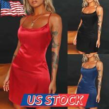 US Women Silk Satin Nightdress Sleepwear Nightwear Robe Babydoll Nigh Gown Dress