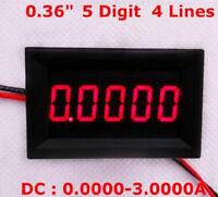 """0.36"""" Digital Ammeter 0-3.0000A DC Current Panel Meter Five Digit Red LED"""