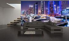 Dubai Night  City Wall Mural Photo Wallpaper GIANT DECOR Paper Poster Free Paste