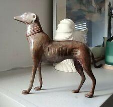 "Vtg Bronze Whippet Greyhound Dog Figurine 8""x8"" Statue Sculpture Metal Art"