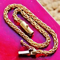 "14k yellow gold bracelet 7.87"" heavy fancy link chain vintage handmade  9.0gr"