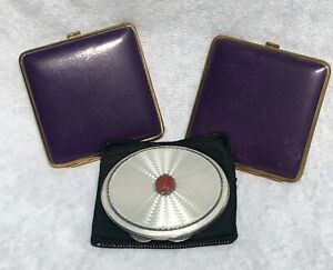 STERLING SILVER & GUILLOCHE ENAMEL HM 1934 COMPACT + 2 PURPLE LEATHER COMPACTS