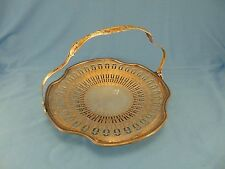Silver plate round tray with handle RH Macy & Co. Kenilworth style nickel silver