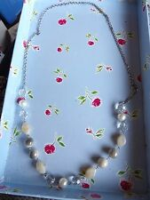 LONG SILVER TONE GREY, CREAM & FAUX PEARL CHAIN NECKLACE 76-109