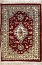 Rugstc 2.5x4 Pak Persian Red Area Rug, Hand-Knotted,Floral with Silk/Wool Pile