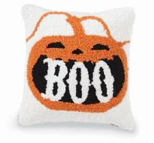 "Mud Pie Home ""Boo"" Jack-O-Lantern Halloween Hooked Throw  Pillow 8"" Square"
