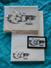 Bunnies Rabbits in Field 3 Piece Set-Notepad, 6 Blank Notecards and Magnet - New