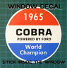 SHELBY AMERICAN INC 1965 COBRA WORLD CHAMPION WINDOW STICKER DECAL - SCCA-RACING