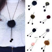 Women Retro Necklace Long Jersey Sweater Chain Fur Pompom Pendant Jewelry Gift