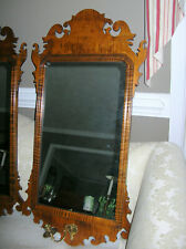 WILLIAMSBURG STYLE CHIPPENDALE TIGER MAPLE MIRROR