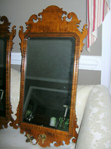 #1 OF 2  WILLIAMSBURG STYLE CHIPPENDALE TIGER MAPLE MIRROR