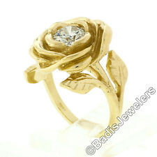 New Handmade 18k Yellow Gold 0.78ct Round Diamond Rose Flower Engraved Leaf Ring