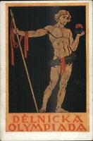 Delnicka Olympiada Semi Nude Muscular Man Beefcake Prague 1921 Postcard