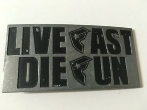 Famous Stars and straps belt buckle,  live fast die fun, new