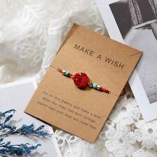 Handmade Women Natural Stone Rope Bracelet Bangle Friendship Card Jewelry Gift