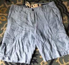 Mens Lucky Brand Cargo Shorts Blue Chambray Zipper Fly Size 34 Blue Linen
