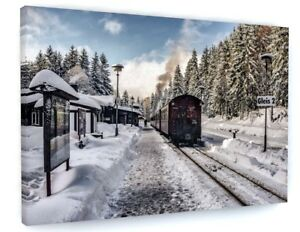 WINTER TRAIN STATION SNOW SCENE LANDSCAPE CANVAS PICTURE PRINT WALL ART #C82