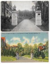 2 Vntge Postcards Lehigh University,Bethlehem:Entr ance Sayre Park Fraternities