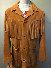 Vtg Schott Leather Fringe Western Jacket Suede Rancher Mens 38 USA Hippie Cowboy