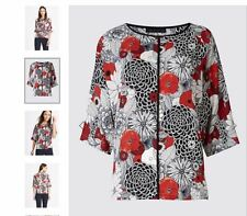 Marks and Spencer floral Kimono shell top UK 22 Plus Size Red Oriental print