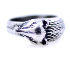 Vintage retro style antique silver coloured curved wolf ring, UK Size P