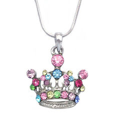 Multi Color Princess Royal Crown Tiara Pendant Necklace Girl Fashion Jewelry
