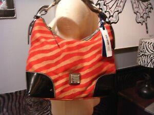 Dooney & Bourke red zebra pattern black patent leather accents purse handbag bag