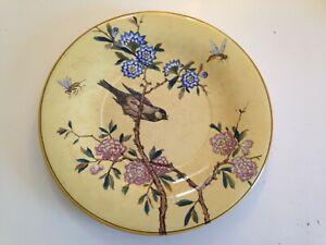 Superbe plat grande assiette jaune faience Gien décor oiseaux et insectes  TBE