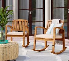 Wooden Rocking Chair Hard Wood Rocker Home Patio Balcony Terrace Deck Porch