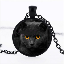 Black Cat Yellow Eyes Glass Cabochon Black Pendant Necklace + Free Gift