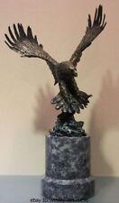 "19"" Western Art Pure Copper Bronze & Marble Fly Eagle Hawk Bird Sculpture Statue"