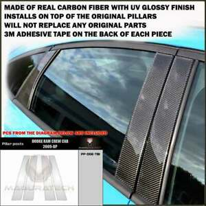 FITS DODGE RAM 2009-18 REAL BLACK CARBON FIBER WINDOW PILLAR POSTS 4 PCS