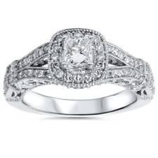 1ct Princess Cut Diamond Vintage Halo Engagement Ring 14K White Gold