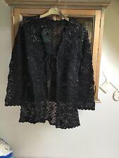 Black crochet open front cardigan UK 10