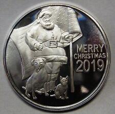 2019 Christmas One 1 Ounce Round .999 Pure Silver PATRIOTIC SANTA USA FLAG