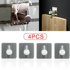 4X Self Adhesive Hooks Stainless Steel Strong Sticky Stick on Wall Door  UK