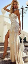 New Mermaid Crystal Long Celebrity Cocktail Party Prom Gown Formal Evening Dress