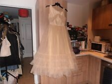 1930s Lorraine London Made Ivory Net & Taffeta Gown