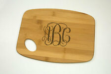 "Monogram Bamboo Cutting Board 9"" by 12"", Laser cut engraving on wood"