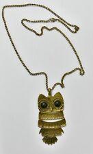 Búho Retro Vintage Bronce Colgante Collar de Cadena Larga Joyería