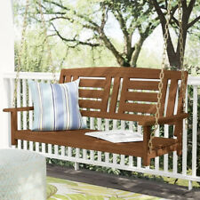 Front Porch Swing Patio Garden Solid Wood Outdoor Hanging Bench 2 Seat Chair