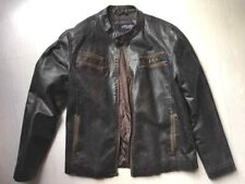 Blouson veste  style motard Urban Heritage imitation cuir vieilli marron large