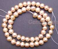 "7-8mm Pink Round Natural Freshwater Pearl 14"" Loose Beads for Jewelry Making DIY"
