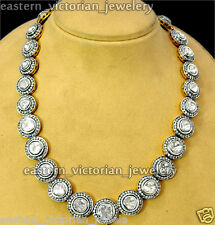 Vintage 11.01Cts Genuine Rose Antique Cut Diamond Silver Bridal Necklace Jewelry
