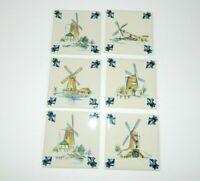 Lot 6 Vintage KLM Business Class Dutch Delft Tiles Coasters Windmill Series