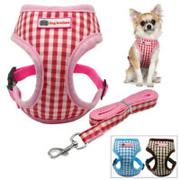 Soft Plaid Small Dog Harness and Leash Set Puppy Cat Mesh Walking Vest Chihuahua