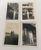 Black and White Vintage Snapshot Photograph Lot Of 4 Two Men In Photo