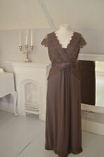 - Stunning JACQUES VERT Moleskin Brown Lace Long Length Evening dress s 10  VGC