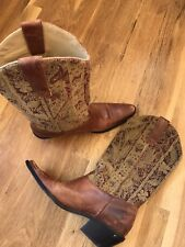 Matisse Tapestry Leather Boots Boho Hippie Cowgirl Size 7.5 Made In Brazil
